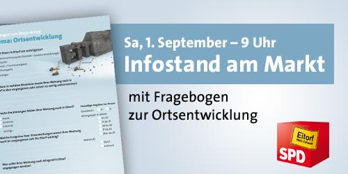 Infostand am 1. September auf dem Marktplatz