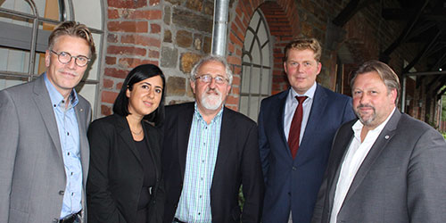 Dirk Schlömer MdL, Sara Zorlu, Dietmar Tendler, Dr. Raimar Molitor und Michael Fuchs